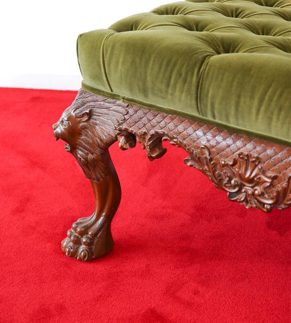 English Button Tufted Luxury Velvet Footstool Ottoman 3