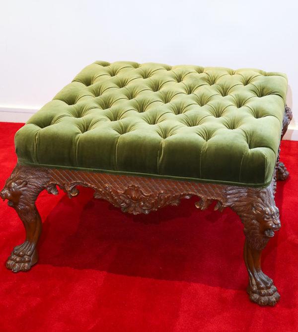 English Button Tufted Luxury Velvet Footstool Ottoman 1