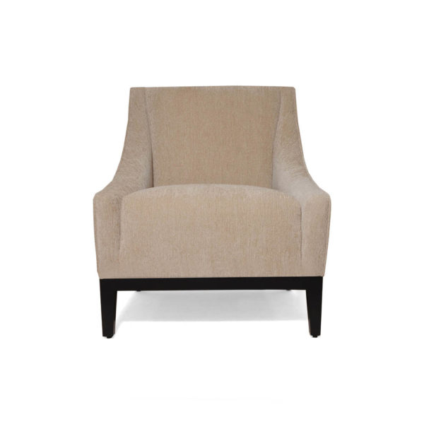 Alessandro Upholstered Single Seat Armchair with Black Wood Base