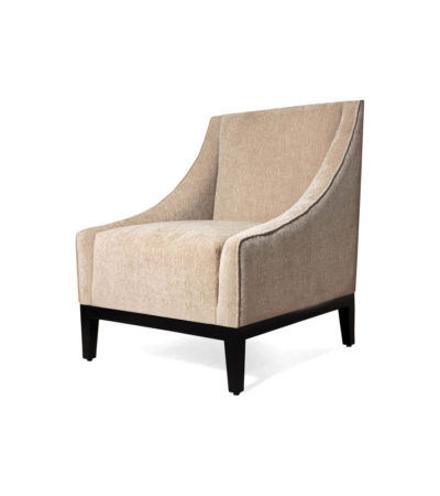 Alessandro Upholstered Single Seat Armchair with Black Wood Base Beside View