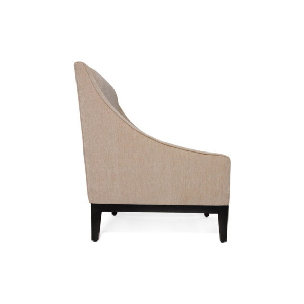 Alessandro Upholstered Single Seat Armchair with Black Wood Base Right Side View C