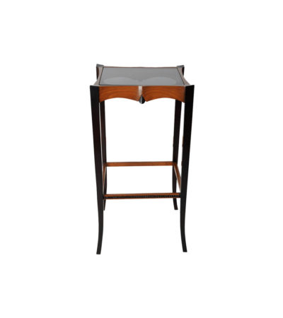 Allegra Square Glass Side Table with Wooden Legs
