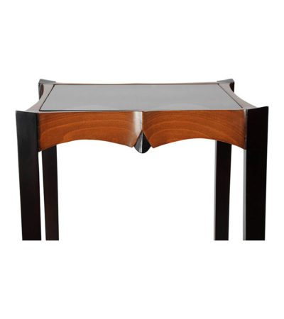 Allegra Square Glass Side Table with Wooden Legs Details