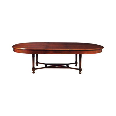 Antique Oval Dining Table with Natural Veneer Inlay