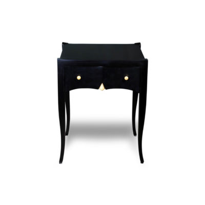 Arthur Wooden Black Side Table with Drawer Front View