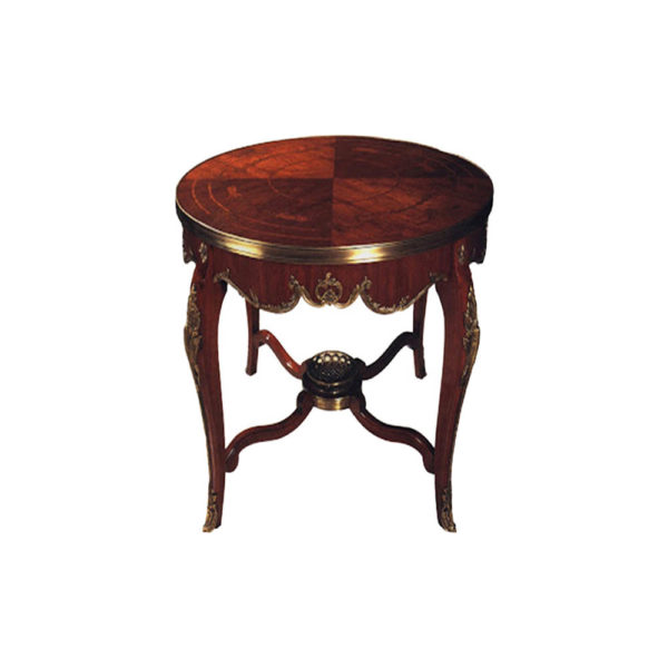Averil Antique French Style Round Side Table with Copper Ornament
