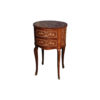 Avery Antique Side Table with Two Drawers and Marquetry Veneer Inlay 1