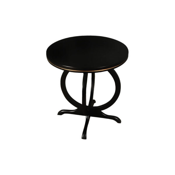 Bastian Circular Black Curved Side Table Round Top