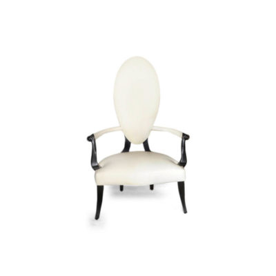 Beverly Upholstered Oval Back Accent Chair Front