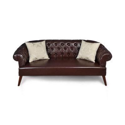 Classic Chesterfield Tufted Leather Sofa Silk Cushion UK B