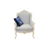 Classic Wing Back Chair with Wooden Carved and Strip Fabric Upholstery 1