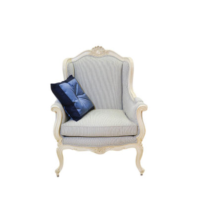 Classic Wing Back Chair with Wooden Carved and Strip Fabric Upholstery