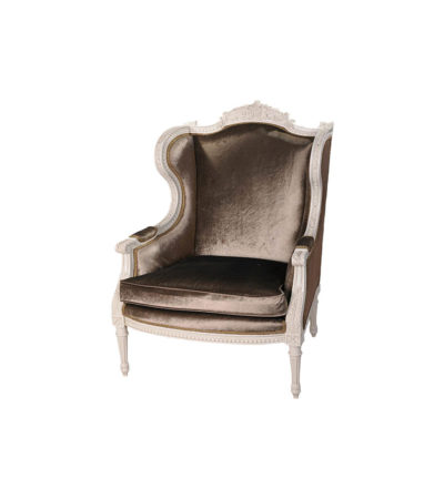 Colonial Hand Carved Wing Chair with Upholstery Luxury Velvet