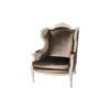 Colonial Hand Carved Wing Chair with Upholstery Luxury Velvet 1