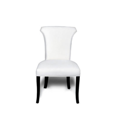 Earl Upholstered Curved Dining Chair with Wooden Black Legs