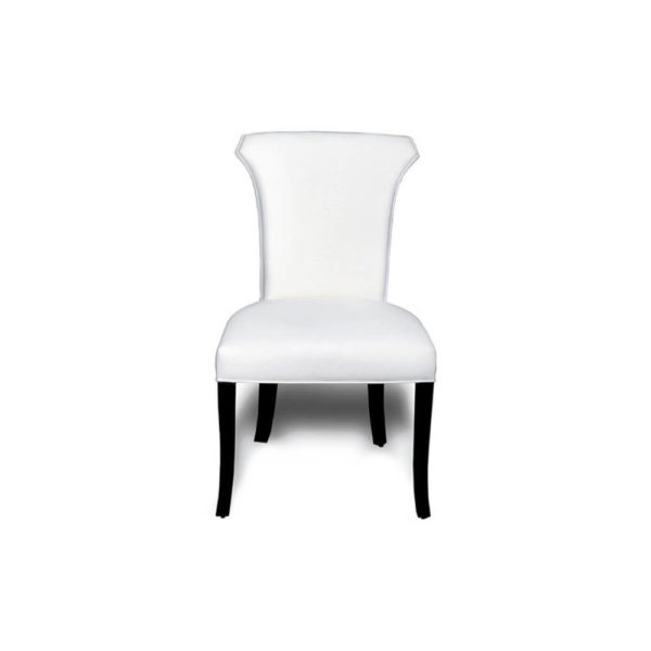 Earl Upholstered Curved Dining Chair with Wooden Black Legs A