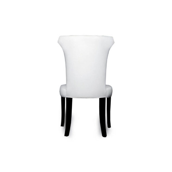 Earl Upholstered Curved Dining Chair with Wooden Black Legs Back D