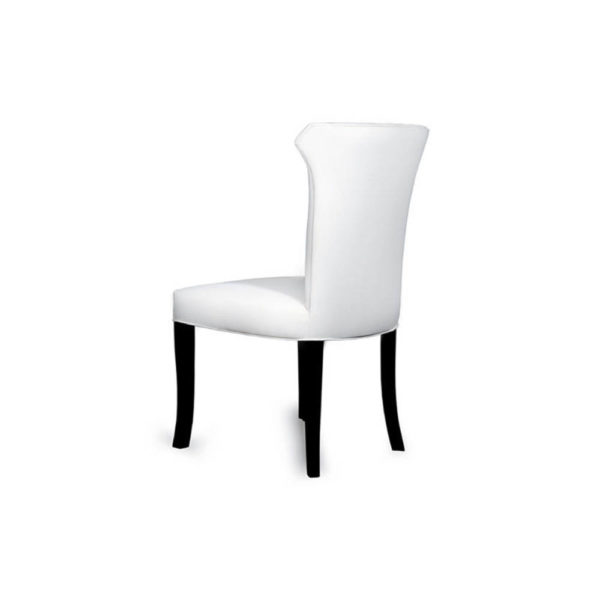 Earl Upholstered Curved Dining Chair with Wooden Black Legs Back View E