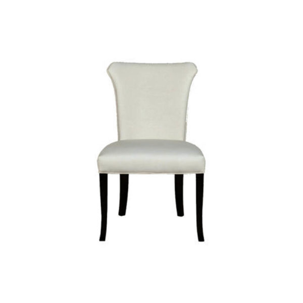 Earl Upholstered Curved Dining Chair with Wooden Black Legs Front C
