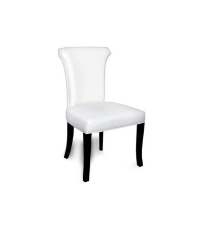 Earl Upholstered Curved Dining Chair with Wooden Black Legs Side