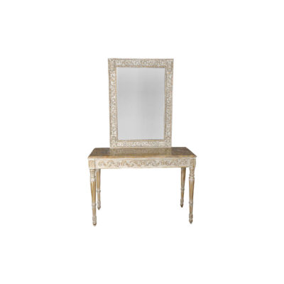 Edmondson French Console Table Distressed Paint and Hand Carved Front View