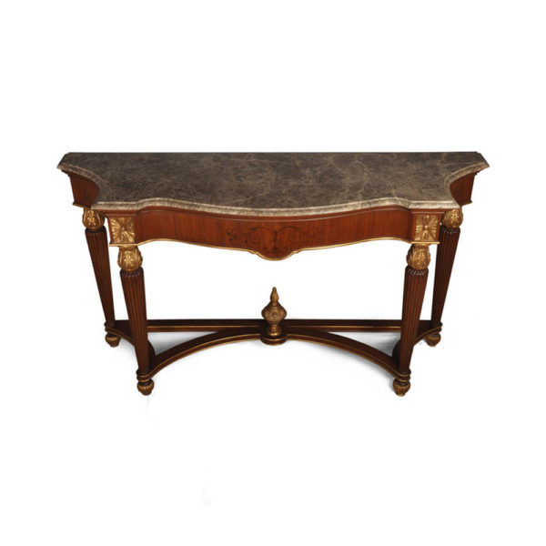 Edmund Elegant Style Marble Top Console Table Antique Hand Carved