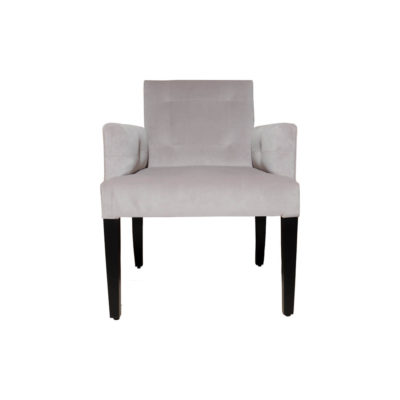Edmund Upholstered Square Arm Chair with Wooden Legs Front View