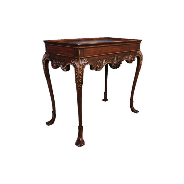 Edna Shabby Chic Console Table with Wooden Hand Carved Detailed Side