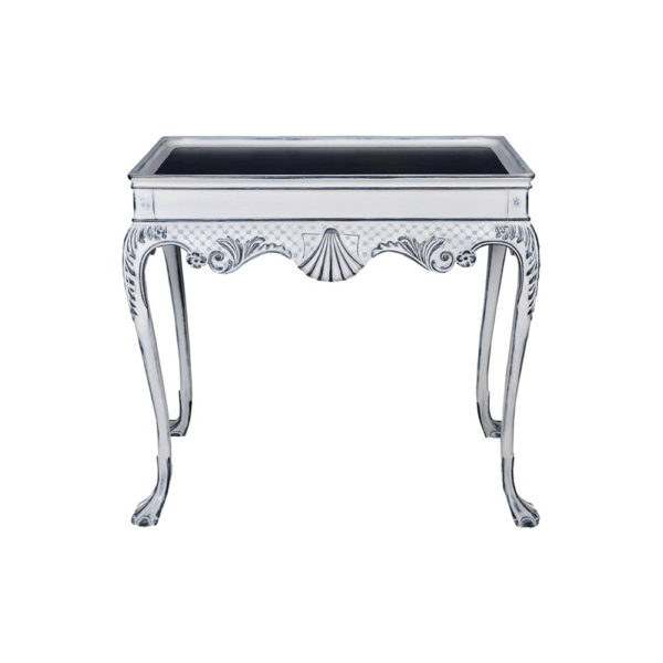 Edra Distressed Painted Console Table with Hand Carved Wood Front