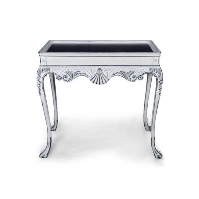 Edra Distressed Painted Console Table with Hand Carved Wood Front View