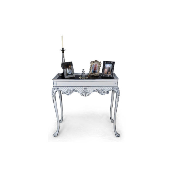 Edra Distressed Painted Console Table with Hand Carved Wood Gray