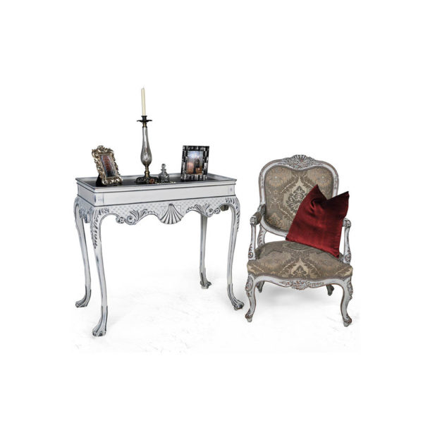 Edra Distressed Painted Console Table with Hand Carved Wood and Chair