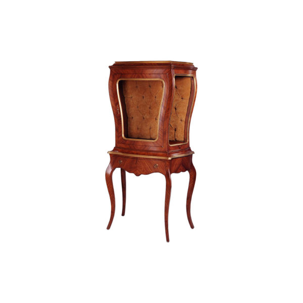 Eggleton Antique French Style Display Cabinet with Luxury Tufted Velvet Fabric Side B