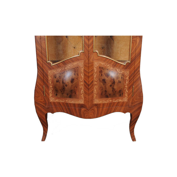 Egner Elegant French Style Display Cabinet with Tufted Upholstery Marquetery
