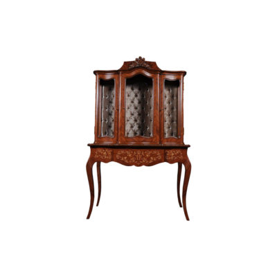 Ekaterina Hand Carved Antique French Style Display Cabinet with Three Doors and Tufted Fabric A