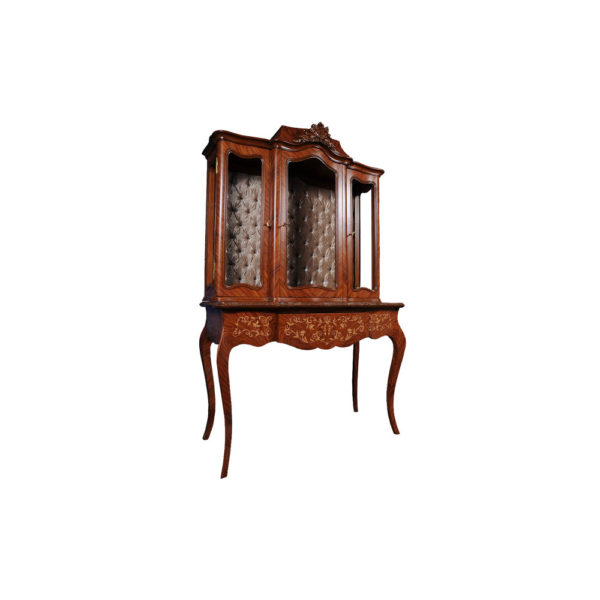 Ekaterina Hand Carved Antique French Style Display Cabinet with Three Doors and Tufted Fabric Side B