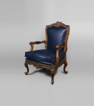 Elegant English Style Armchair Natural Leather Upholstery