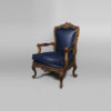 Elegant English Style Armchair Natural Leather Upholstery 2
