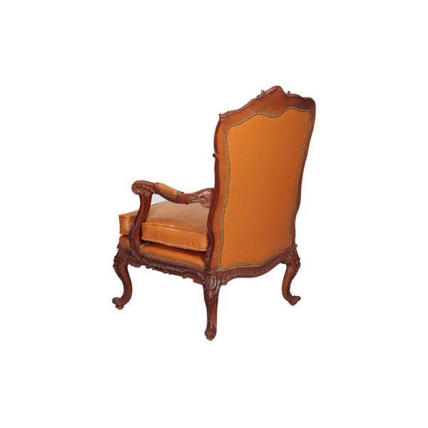 Elegant English Style Armchair Natural Leather Upholstery Orange Back