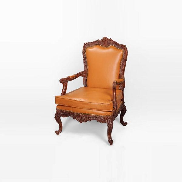 Elegant English Style Armchair Natural Leather Upholstery Orange