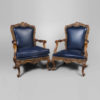 Elegant English Style Armchair Natural Leather Upholstery 3