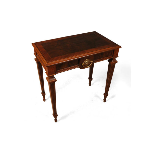 Elegant Side Table with Handcrafted Marquetry Veneer Inlay