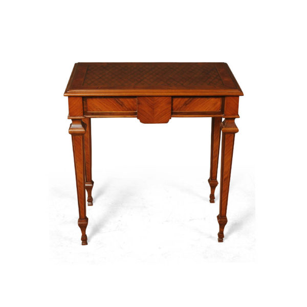 Elegant Side Table with Handcrafted Marquetry Veneer Inlay Back