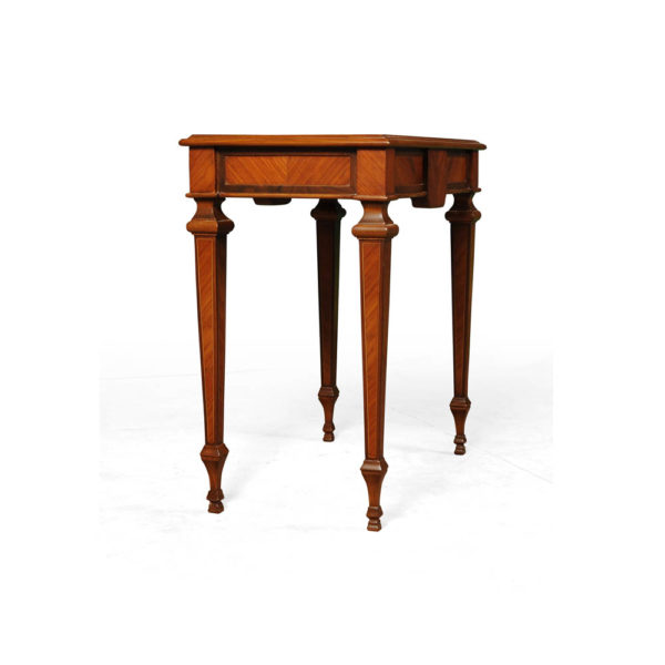 Elegant Side Table with Handcrafted Marquetry Veneer Inlay Back View