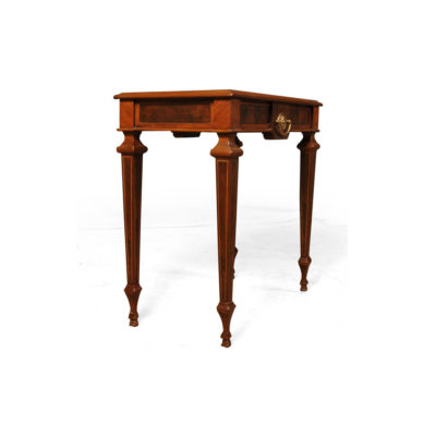 Elegant Side Table with Handcrafted Marquetry Veneer Inlay Beside View