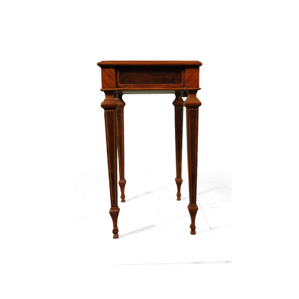 Elegant Side Table with Handcrafted Marquetry Veneer Inlay Side View