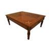 Elegant Veneer Top Coffee Table Detailed Hand Carved Wood 1