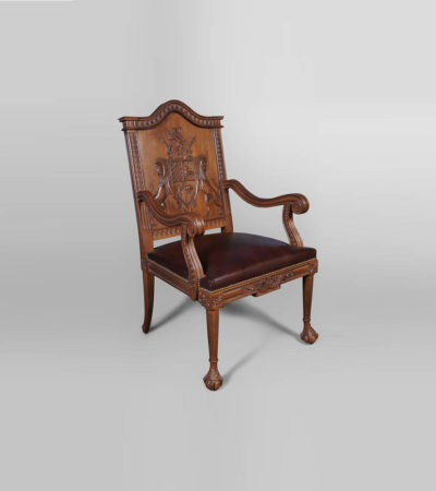 English Armchair with Hand Carved Englanderline Wooden Detailed and Upholstery Natural Leather A