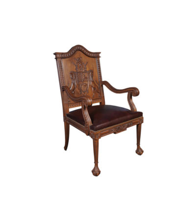 English Armchair with Hand Carved Englanderline Wooden Detailed and Upholstery Natural Leather Side View B