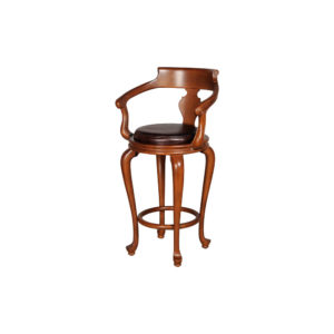 English Bar Stool Leather Side View